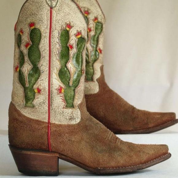 3a43a6f57d3 Justin Boots Vintage Cactus Cowboy Boots